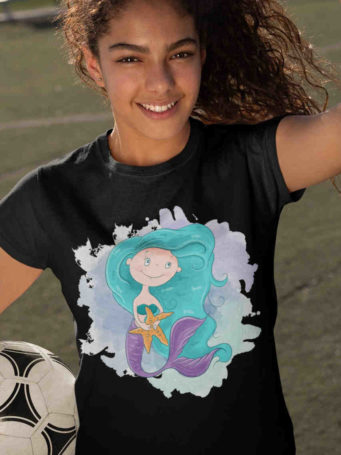 6S1062 lovely girl in black tshirt with mermaid holding starfish