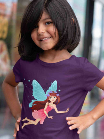 6S1068 cute girl in purple tshirt with Blue winged fairy flying