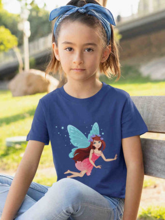 sweet girl in deep blue tshirt with Blue winged fairy flying