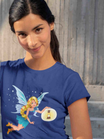 pretty girl in deep blue tshirt with fairy holding lantern