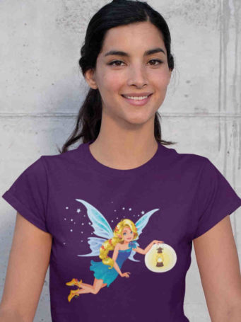 6S1069 pretty girl in purple tshirt with fairy holding lantern