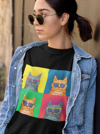 6S1100 cool girl in black Tshirt with Pop Art Cat with sunglasses