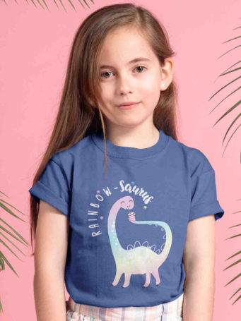 pretty girl in deep blue Rainbow-saurus Tshirt