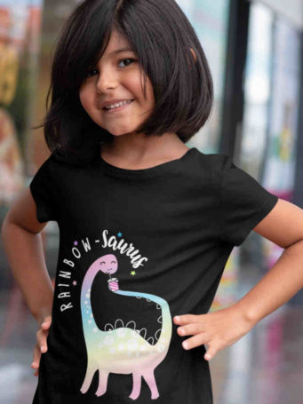 6S1102 sweet girl in black Rainbow-saurus Tshirt