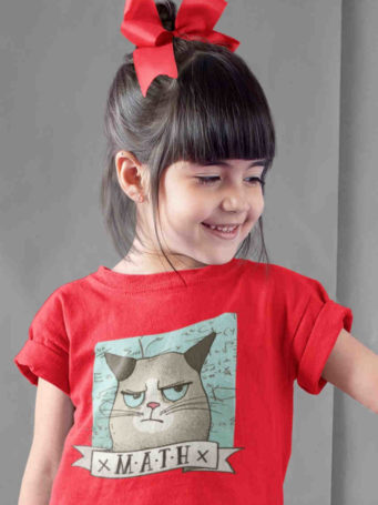 sweet girl in Grumpy Math Cat red tshirt