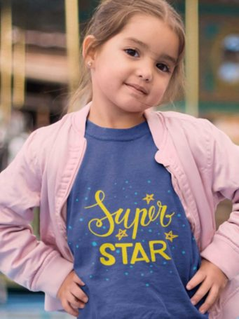 6S1200 little girl in a deep blue Super Star tshirt