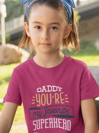 6S1202 cute girl in a dark pink tshirt with Daddy you're my favorite superhero