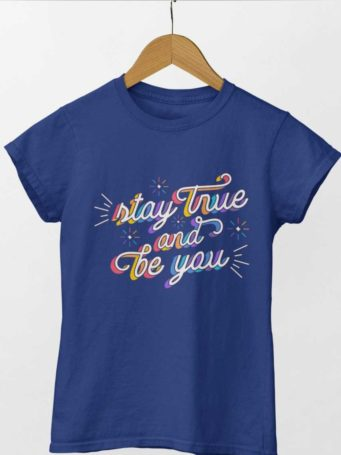 6S1203 Deep blue tshirt with Stay True Be You