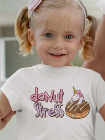 6S1205 Little girll in a white Donut Stress Tshirt