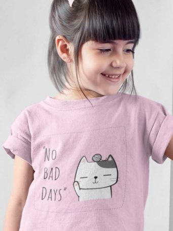 6S1206 Cute Girl in Cat Waving No Bad Days Light Pink Tshirt