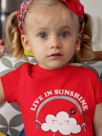 sweet girl in a red Live in Sunshine Tshirt