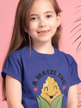6S1220 young girl in a deep blue A-MAIZE-ING Tshirt
