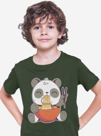 6S1247 Cool Boy In An Olive Green Tshirt with a Panda Eating Noodles