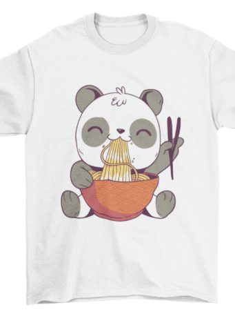 White Tshirt with a Panda Eating Noodles