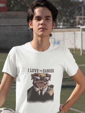 6S1285 Sporty Boy In A White I Love Danger Tshirt