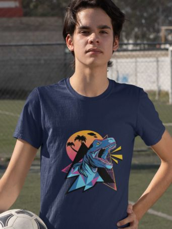 6S1296 Sporty Boy In A Navy Blue Dinosaur At Sunset Tshirt